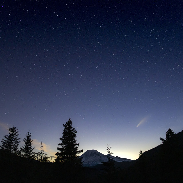 """Mount Rainier Neowise Comet With Big Dipper"" stock image"