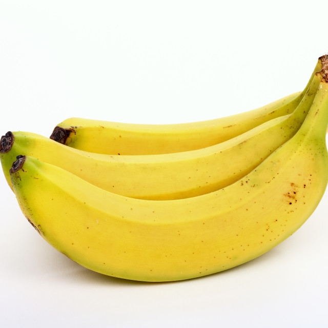 """""""Bunch of three bananas isolated on a white background"""" stock image"""