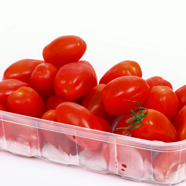 """""""Baby plum tomatoes in a plastic punnet isolated on a white background"""" stock image"""