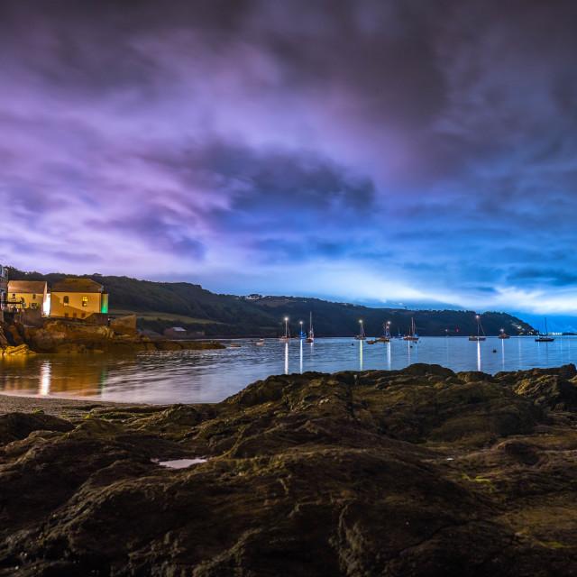 """Cawsand Bay by night, Cornwall UK."" stock image"