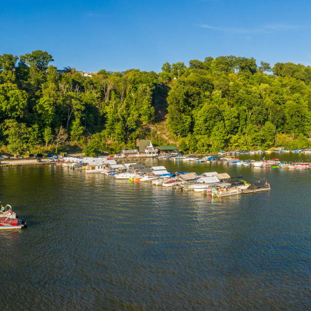 """""""Boats docked in marina of Cheat Lake on a summer evening from drone point of..."""" stock image"""