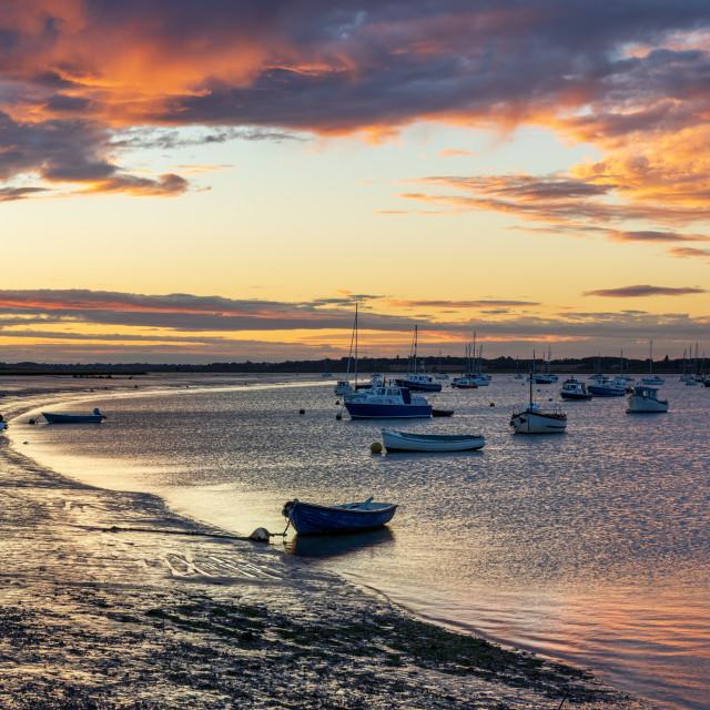 """Sunset, River Deben, Suffolk"" stock image"
