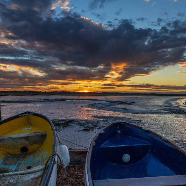 """Sunset, Felixstowe Ferry, Suffolk"" stock image"