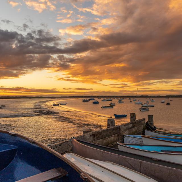 """Golden hour, Felixstowe Ferry, Suffolk"" stock image"