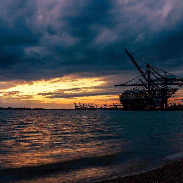 """""""Moody Skies, Felixstowe Port, Suffolk"""" stock image"""