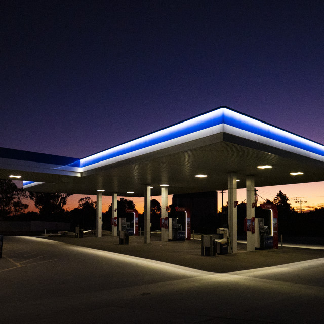 """""""A Mobil Fuel Outlet - 2020"""" stock image"""