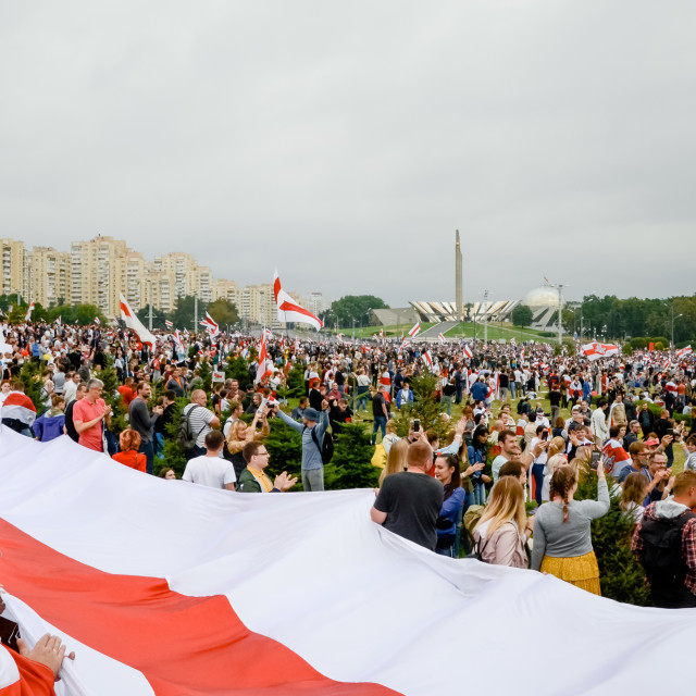 """Belarusian people participate in peaceful protest after presidential elections in Belarus"" stock image"