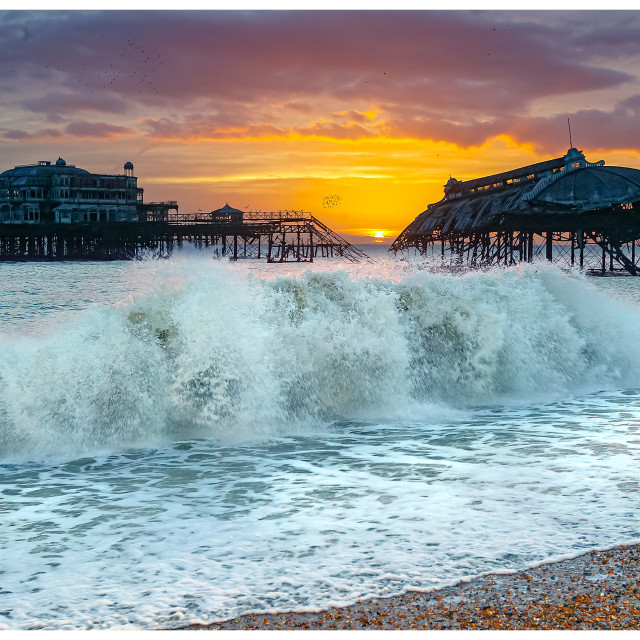 """""""Sunset over Brighton Old Pier"""" stock image"""