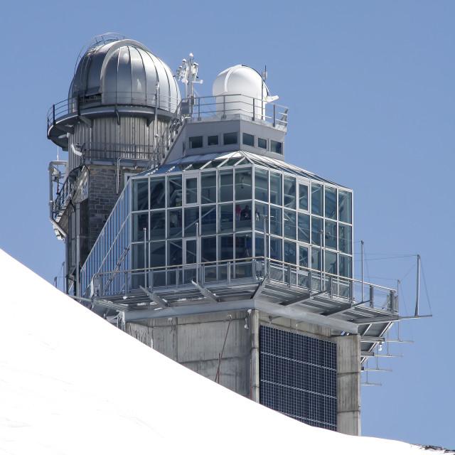 """The Sphinx Observatory, Jungfraujoch, Switzerland"" stock image"