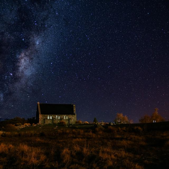 """Milky Way over Church of the Good Shepherd - Tekapo, New Zealand"" stock image"