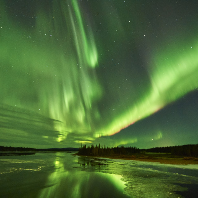 """Aurora Borealis over river Kalix"" stock image"
