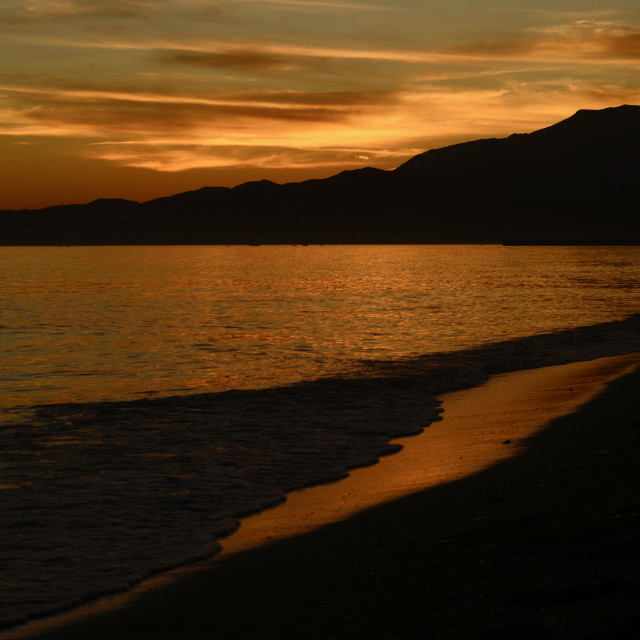 """""""Beach in sunset, summer, Andalusia"""" stock image"""