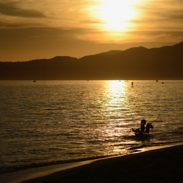 """""""Beach life in sunset, summer, Andalusia"""" stock image"""