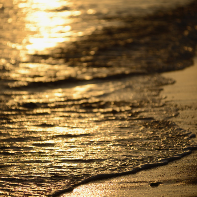 """""""Waves on beach in sunset, Andalusia"""" stock image"""