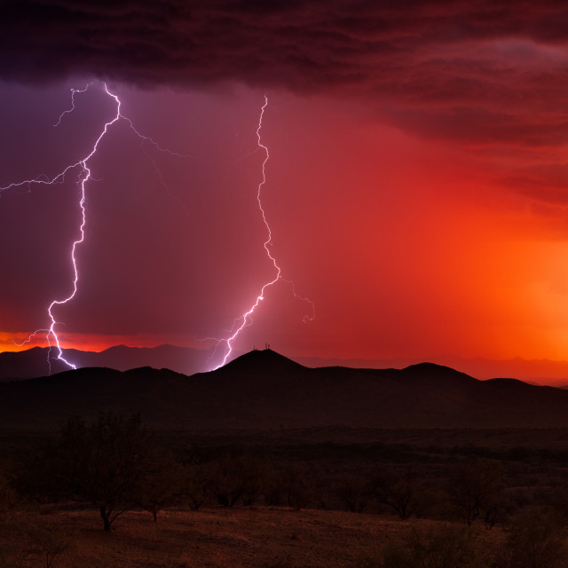 """Lightning from a sunset storm in Arizona"" stock image"