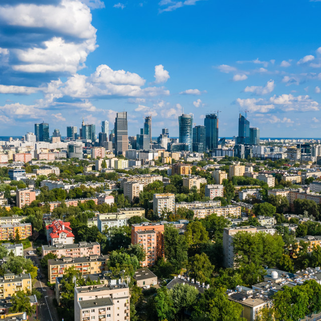 """""""Warsaw city center aerial view"""" stock image"""
