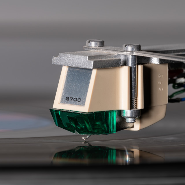 """""""Close up of a vinyl record player needle on record"""" stock image"""