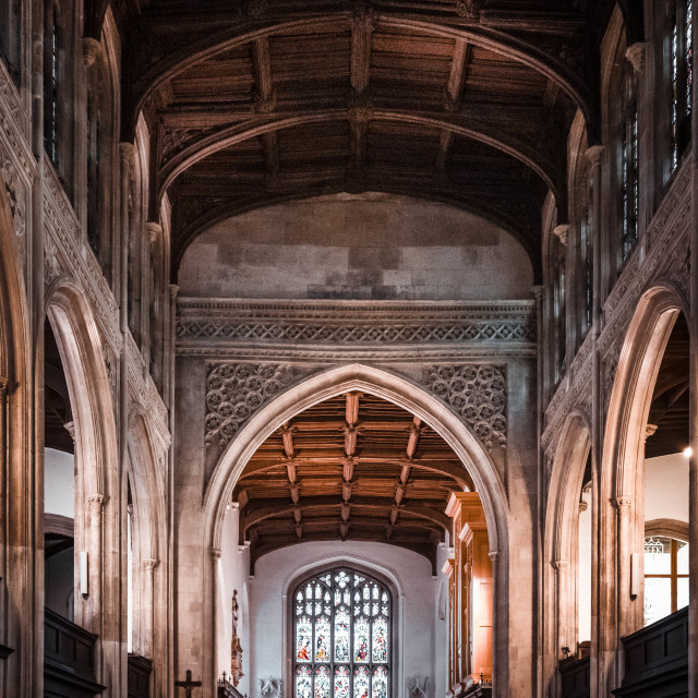 """""""Rafters of Great St Mary's Church, Cambridge UK."""" stock image"""