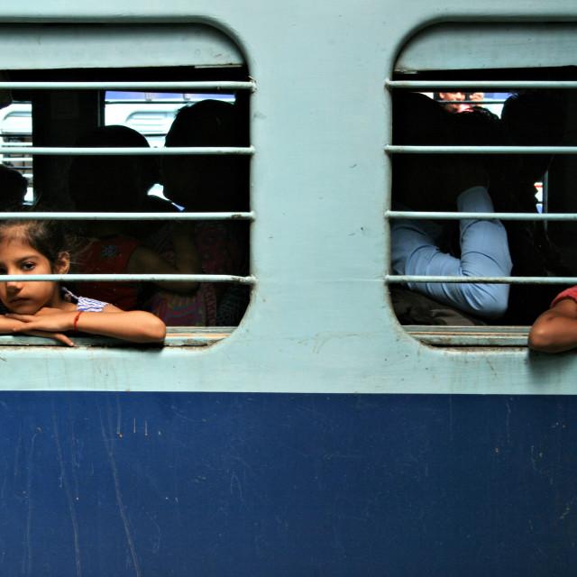 """Indian train on Delhi train station"" stock image"