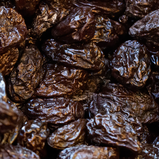 """""""Organic, healthy prunes, dried plums, on display for sale on a m"""" stock image"""
