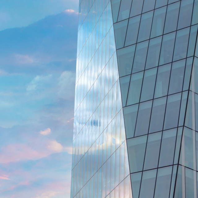 """""""Colourful sky reflected in the exterior glass facade of a modern"""" stock image"""