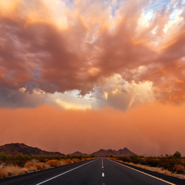 """Dust storm at sunset"" stock image"