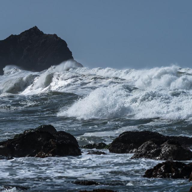 """Waves crashing on the beach"" stock image"