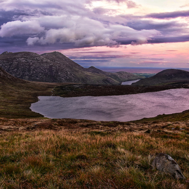 """""""Sunset in the Mournes."""" stock image"""