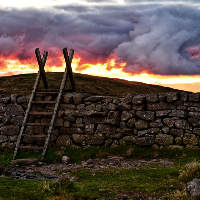 """""""Sunset in the high Mourne Mountains."""" stock image"""
