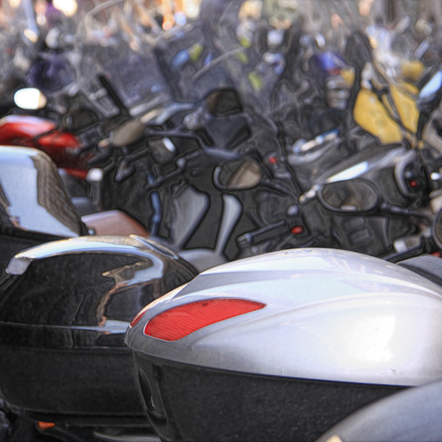 """""""Motorcycles parked in an Italian city"""" stock image"""