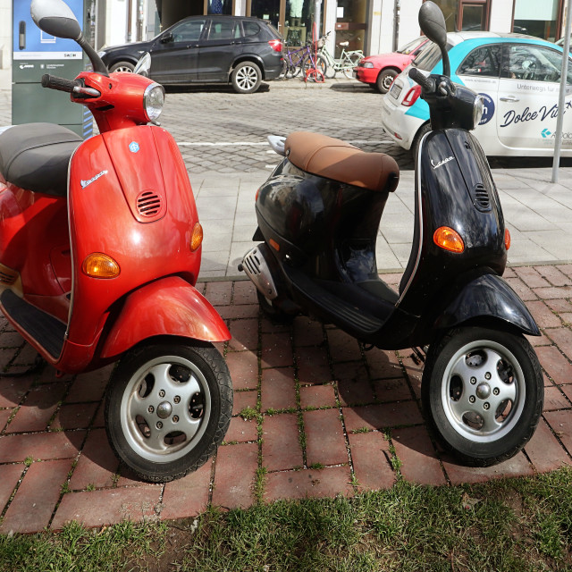 """""""Two vintage Vespa, front view"""" stock image"""