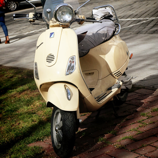 """""""Vintage yellow Vespa, front view"""" stock image"""