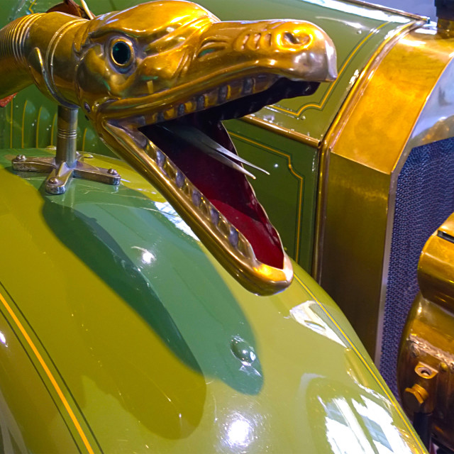 """""""Cacson shaped as boa snake, detail of antique Benz 8/20 PS 1913"""" stock image"""
