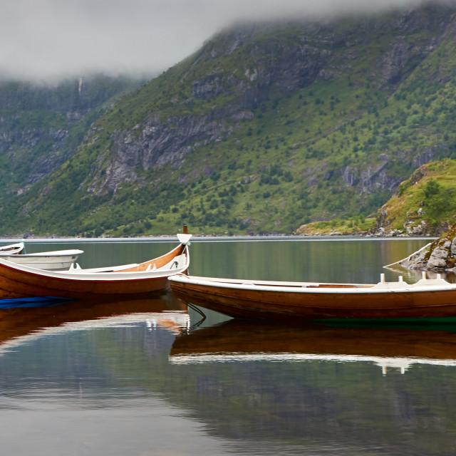 """Norwegian Wooden Fishing Boat"" stock image"