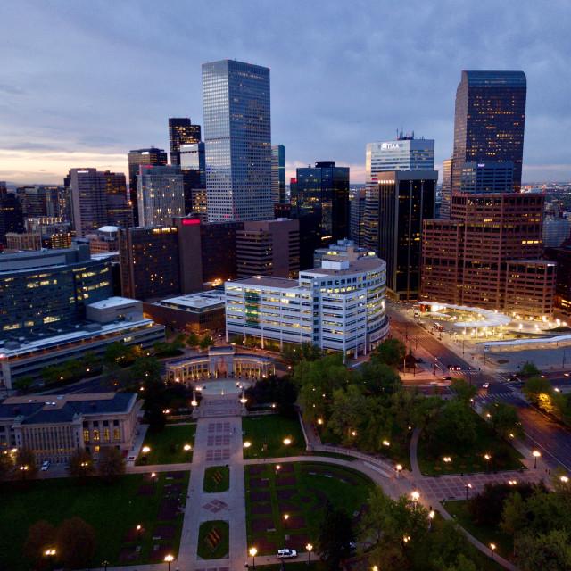 """Downtown Denver Sunset"" stock image"
