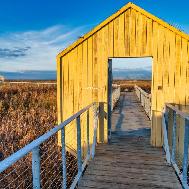 """Yellow Doorways, Alviso Marina County Park"" stock image"