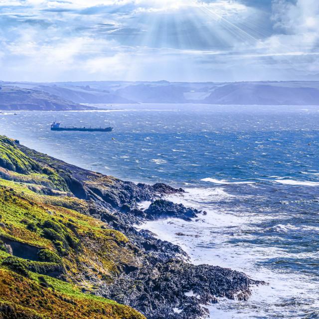 """Seascape from Rame Head Heritage Coast looking towards Heybrook Bay, Cornwall UK."" stock image"