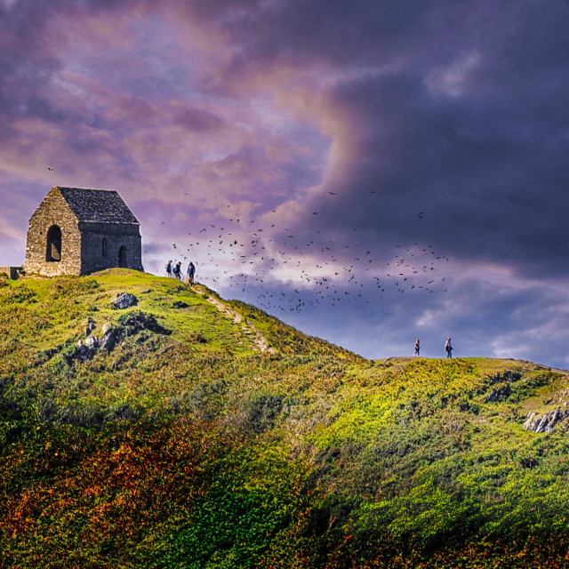 """""""St Michael's Chapel, Cremyll, Torpoint, Cornwall UK."""" stock image"""