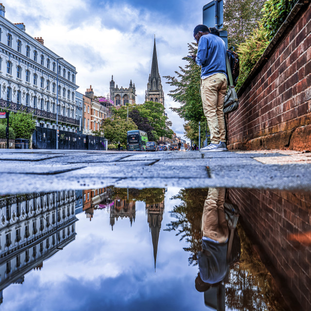 """""""Reflections from Hills Road, Cambridge UK."""" stock image"""