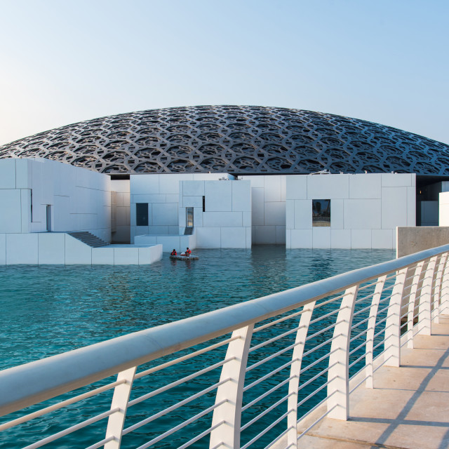 """""""Louvre museum in Abu Dhabi emirate of the United Arab Emirates at sunset"""" stock image"""
