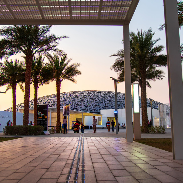 """""""Entrance of Louvre museum in Abu Dhabi emirate of the United Arab Emirates at sunset"""" stock image"""