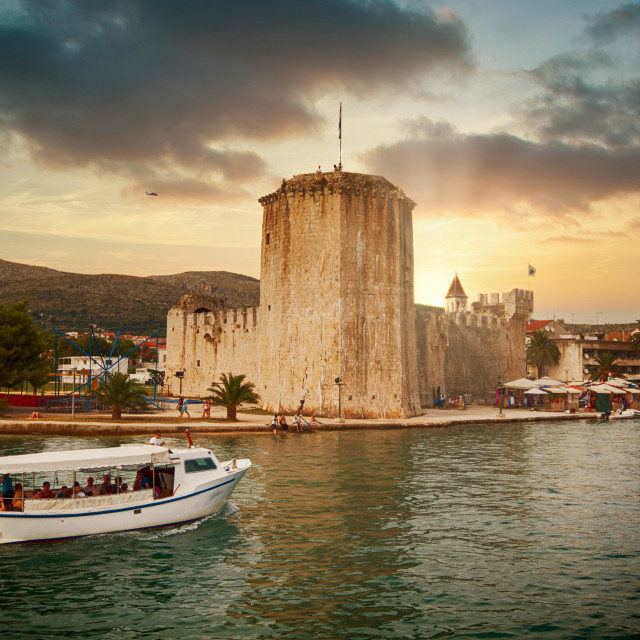 """Trogir harbor on the Dalmatian coast"" stock image"