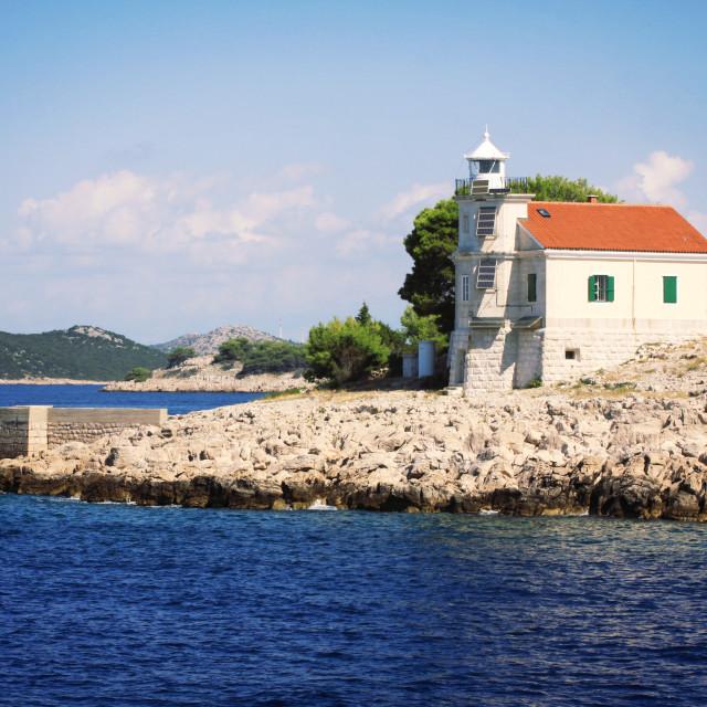 """Dalmatian coast, Prisnjak Lighthouse"" stock image"