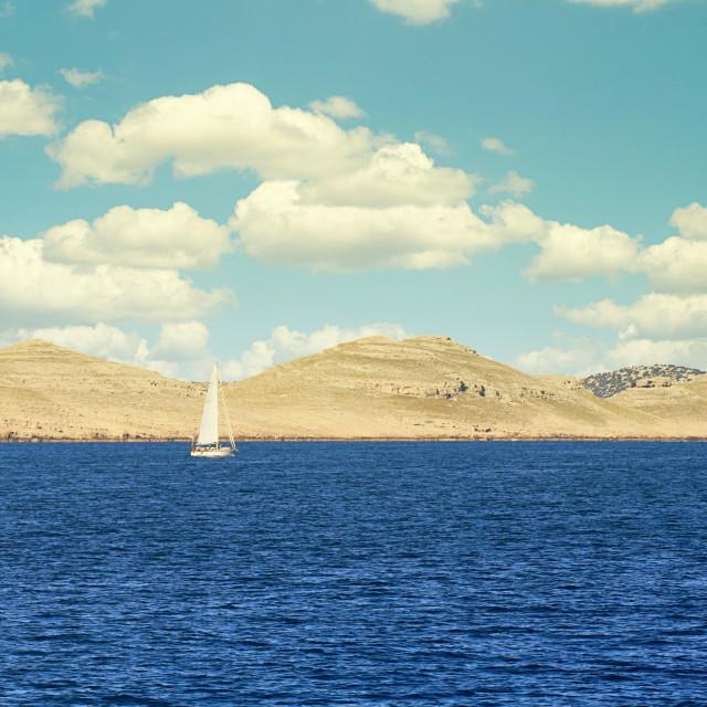"""Sailing boat at the Kornati islands"" stock image"