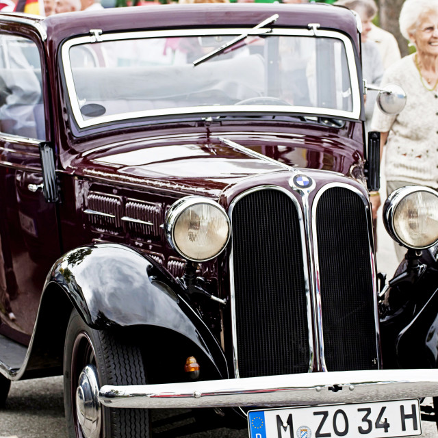 """""""Antique BMW car at Garching traditional parade"""" stock image"""