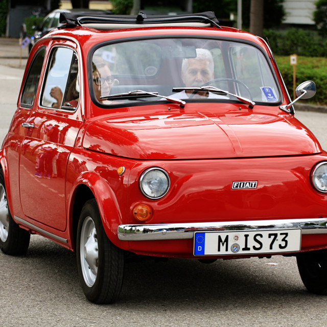 """iconic Italian Fiat 500 mini car vintage"" stock image"