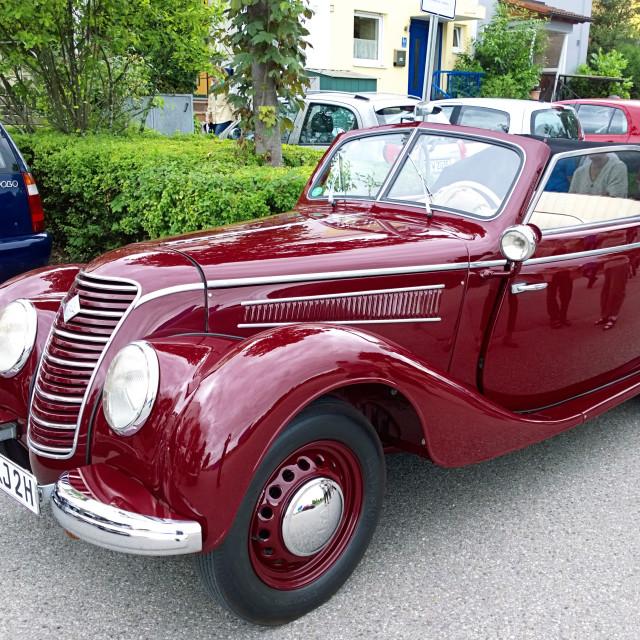 """""""Old IFA 2 door cabrio, produced in DDR (1949-1956)"""" stock image"""