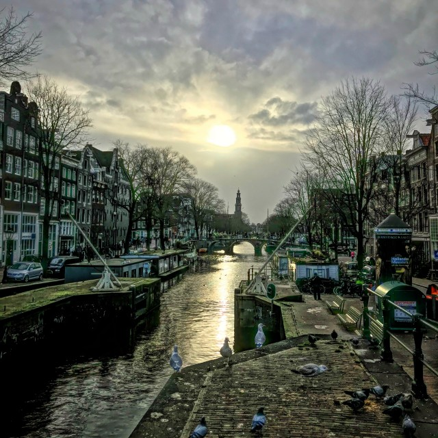 """""""Sunset on the Canal"""" stock image"""