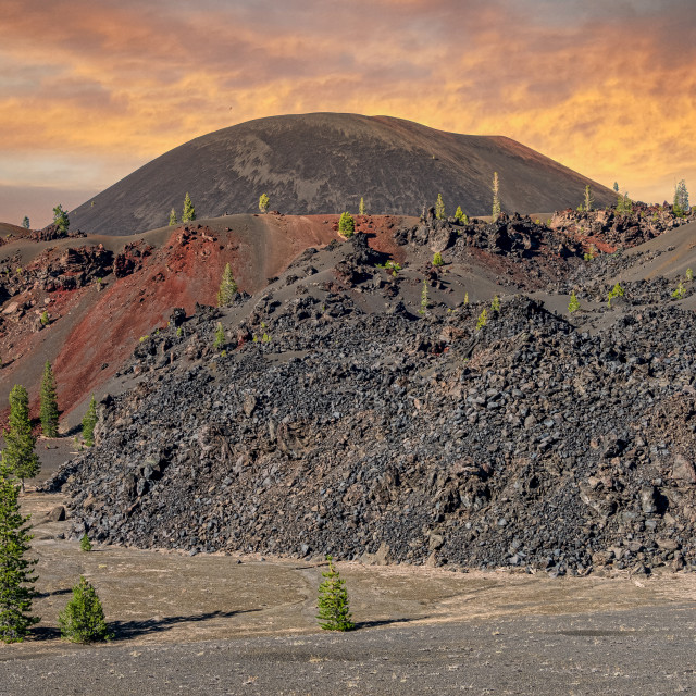 """""""View of Cinder Cone from the Painted Dunes"""" stock image"""