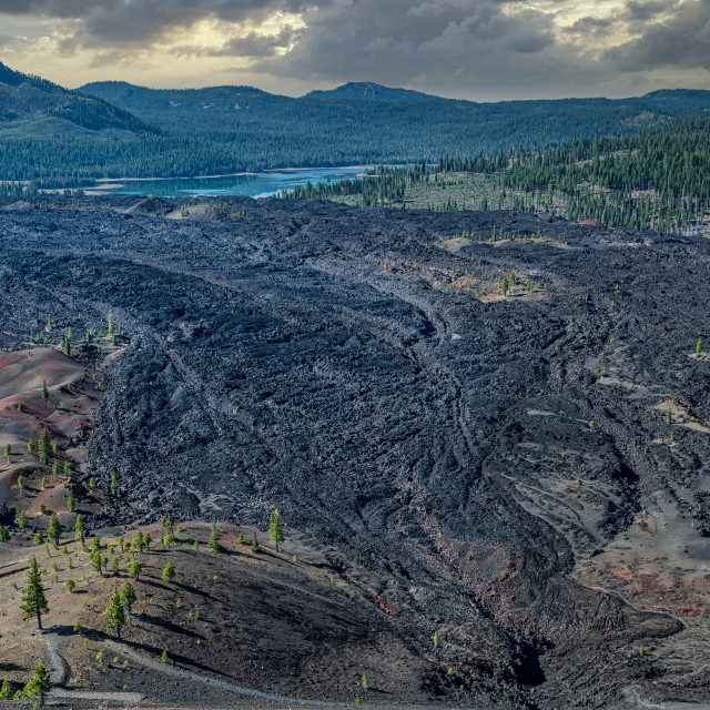 """""""Painted Dunes & Fantastic Lava Beds Panorama"""" stock image"""